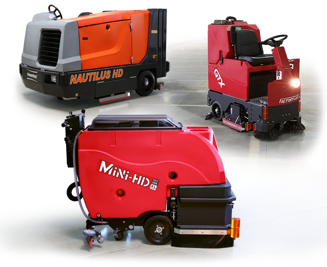 Mar-co Equipment's selection of heavy-duty industrial equipment is second to none. We offer a complete line up of scrubbers and sweeper scrubbers. From small walk behind units to large ride on style machines we have what you need. Our units come in battery, propane, gas and diesel all backed by a manufacturer's warranty.